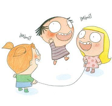 """Imagen del cuento Mimí """"Tomatito"""" en el que la protagonista hace nuevas amigas y juega con ellas."""