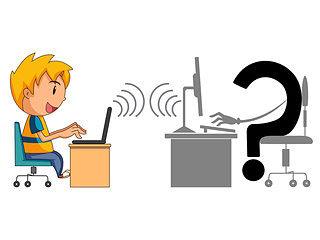 Ilustración de niño chateando con un desconocido por Internet. Ejemplificación de la Regla de la Abuela