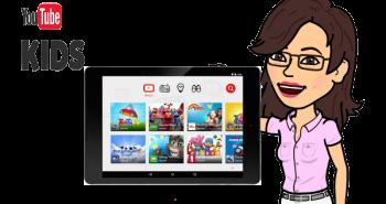 Imagen de cecilia psiente usando youtube kids en la tablet