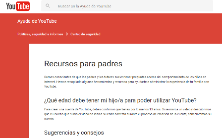 Captura de pantalla de los recursos para padres que incluye Youtube dentro de los servicios de seguridad.