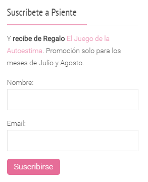 Imagen del widget de suscripción en Psiente