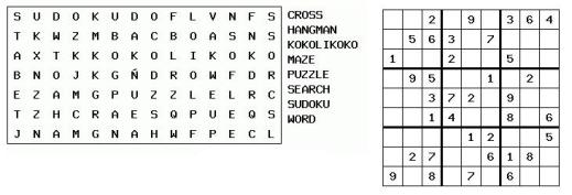 imagen de una sopa de letras y un sudoku