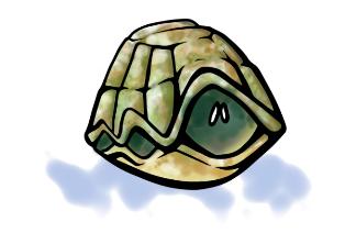 Tortuga en su caparazón evitando pegar o tener una rabieta