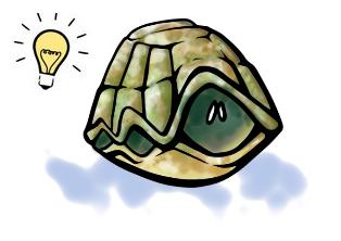 Tortuga en el caparazón pensando una solución a su problema